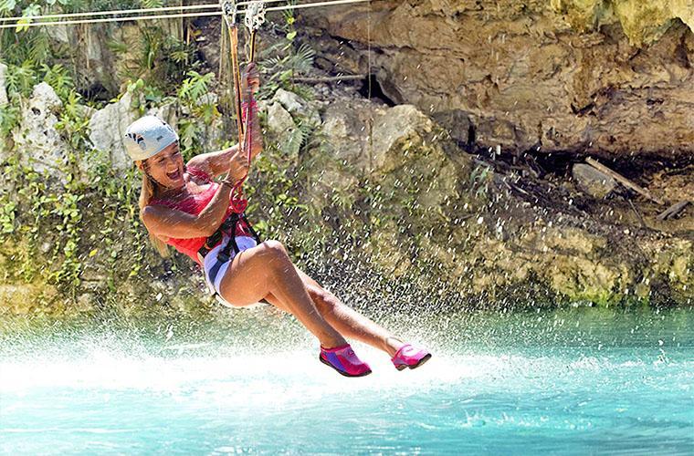 Zip Line Mega Splash & Pool With Waterfall